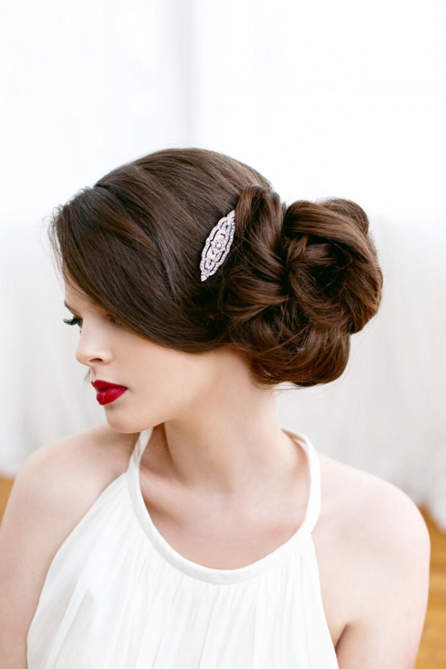 Свадьба - Art Deco Clear Pave Rhinestone Silver Bridal Hair Clip, Great Gatsby, Art Deco, Downton Abbey, Bridal Accessory, Rhinestone Clip CHARLOTTE