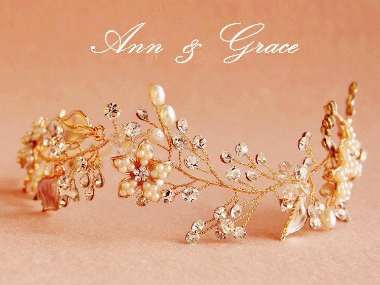 Mariage - Golden Blossom Hair Vine, Crystal and Pearl Bridal Headband, Floral Hair Vine, Rhinestone Wedding Headpiece