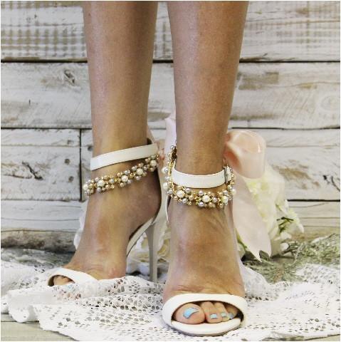 Mariage - BRENNA - ribbon wedding ankle bracelet