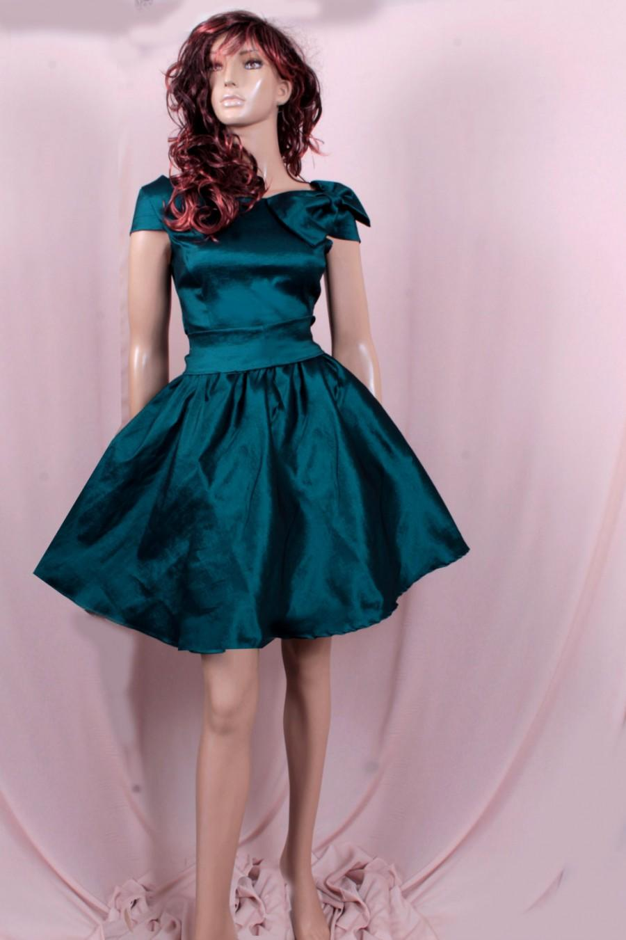 Mariage - Plus Size Bridesmaid Dark Teal taffeta /party /prom /graduation/formal/ evening dress