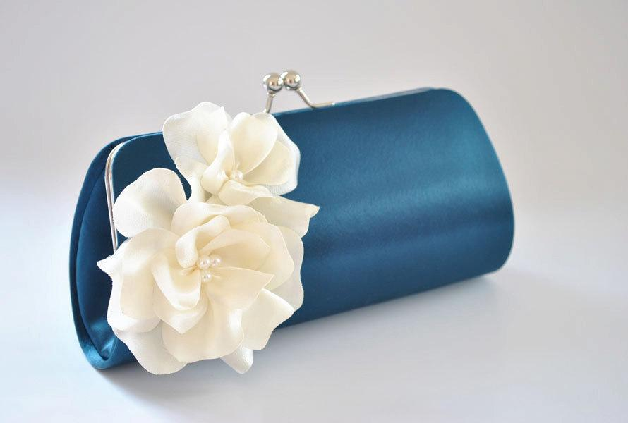 Mariage - Navy Blue and Ivory - Bridal Clutch / Bridesmaid Clutch