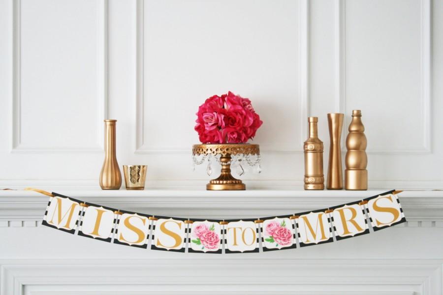 زفاف - Miss to Mrs Banner Kate Spade Inspired Bridal Shower - Bridal Shower Banner - Bachelorette Party - Kate Spade Decorations