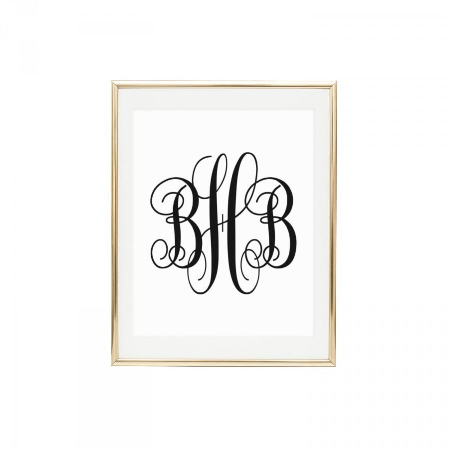 Custom Monogram Print Printable Wall Art Choose Letters Size And Colors You Print Home Decor Wall Print Initials Wedding Gift