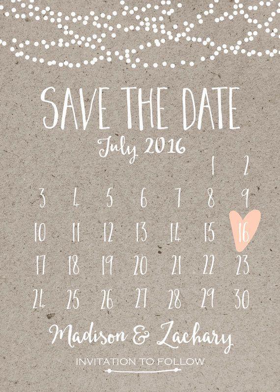 Свадьба - Save The Date Card, Calendar Printable, Simple Wedding Announcement, Kraft Paper, Rustic, Custom Colors, White Neutral Classy