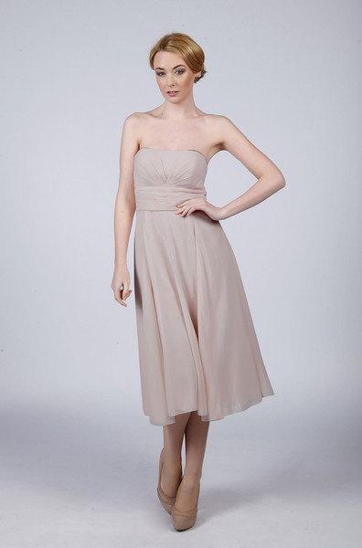 Mariage - Matchimony Silver Strapless Short Bridesmaid Prom/Dress