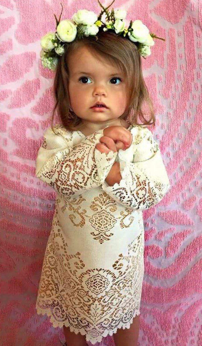 Wedding - Boho Flower Girl Dress, Bell Sleeve Flower Girl Dress, Vintage Lace Flower Girl Dress, Boho Lace Dress, Boho Wedding Dress, Lace Flower Girl