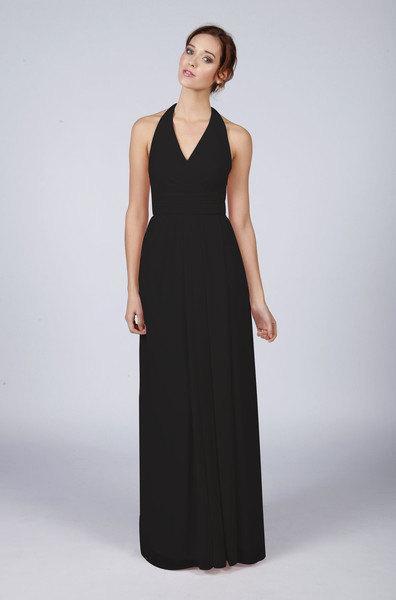 Wedding - Matchimony Pure Black Halterneck Long Bridesmaid/Prom Dress