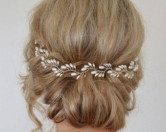 Hochzeit - Bridal Headpiece, Bridal Halo For Updo, Hair Vine, Freshwater Pearl Wreath, Bridal Hair Accessories, Demi Halo, Back Of Head, Wedding Comb