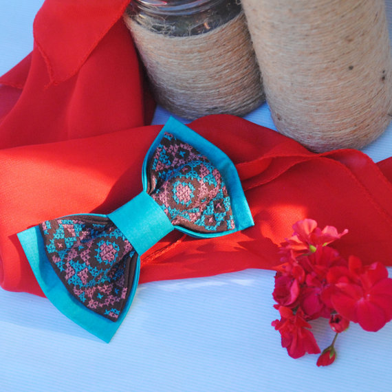Hochzeit - Turqubro Wedding bow tie dark brown turquoise bowtie Mens tie fliegen groomsmen necktie bridal gift cufflink Fiancee Mariage Noued papillon
