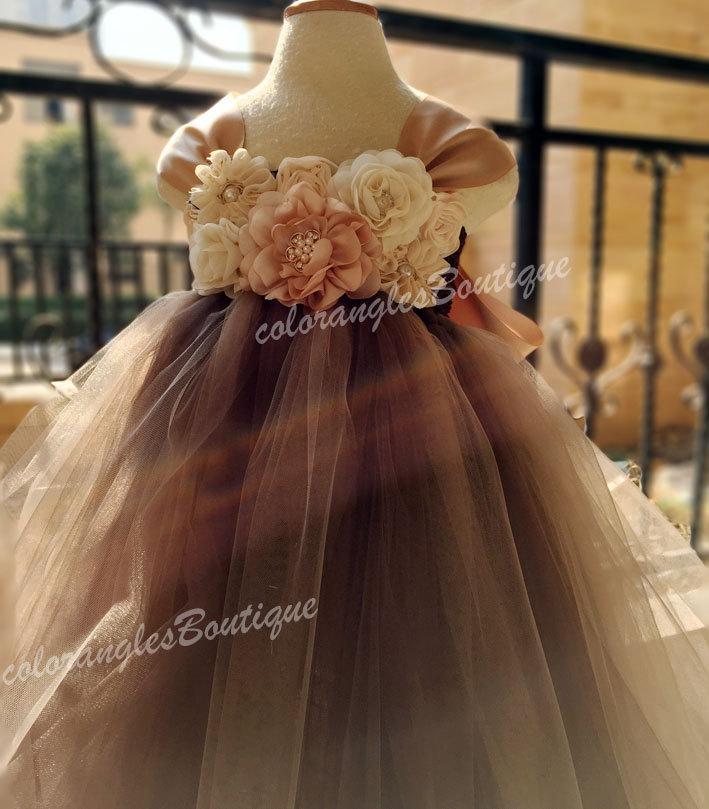 Mariage - Flower girl dress chiffton flowers Brown champagne tutu dress baby dress toddler birthday dress wedding dress 1-8T