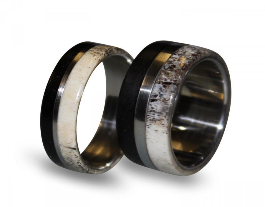 Titanium Ring Set Titanium Wedding Band Set Deer Antler Antler