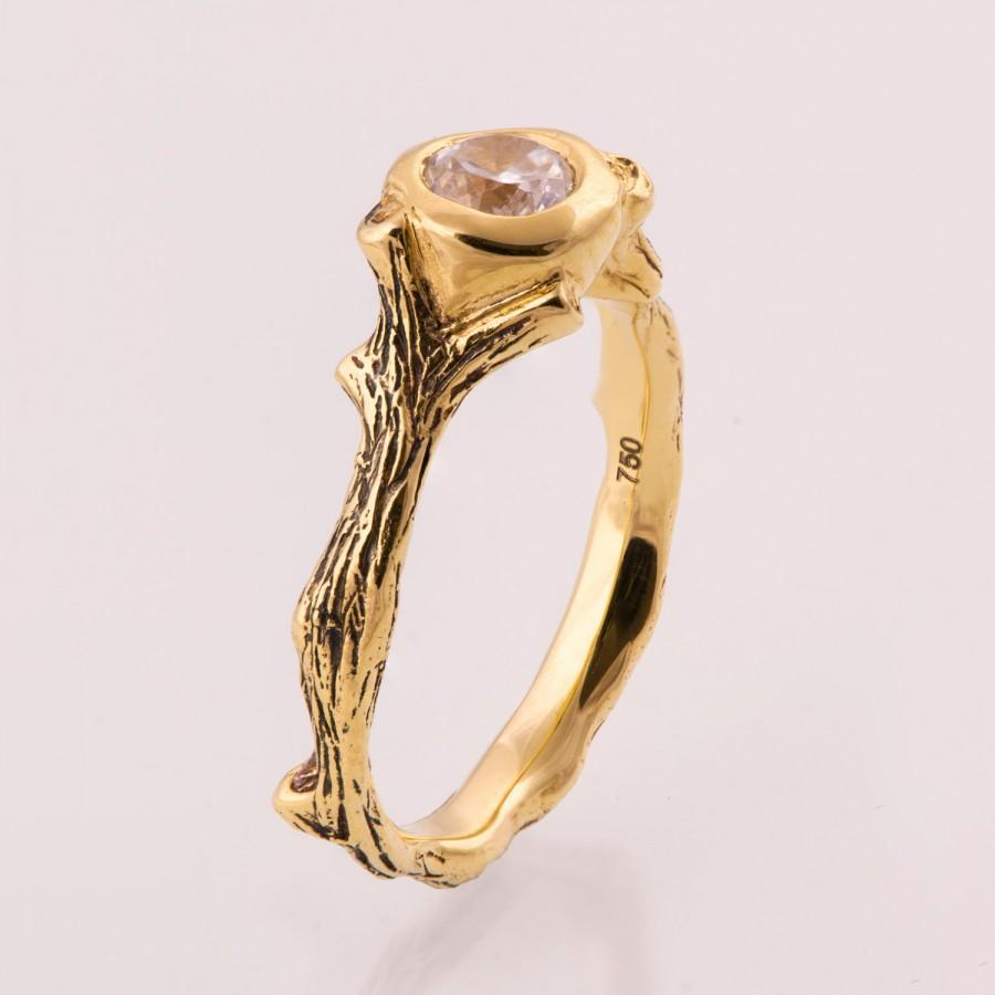 Mariage - Twig Engagement Ring - 14K Gold and Diamond engagement ring, engagement ring, leaf ring, filigree, antique, art nouveau, vintage, 10