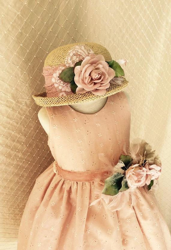 Wedding - Hat & Flower Brooch Vintage, Victorian Style