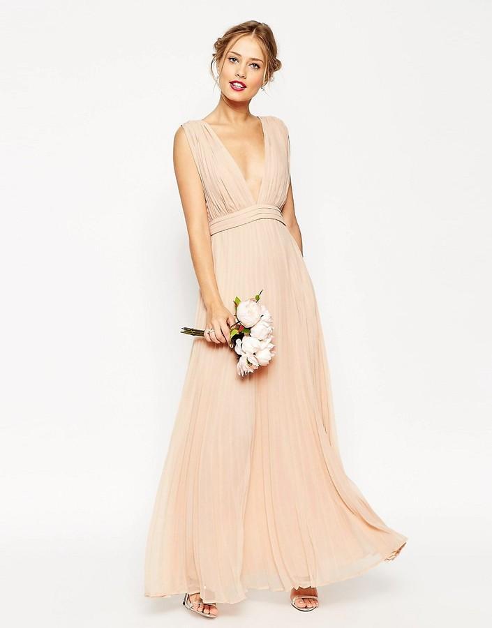 Mariage - ASOS WEDDING Deep Plunge Super Full Pleated Maxi Dress