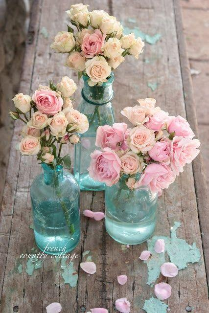 Wedding - FRENCH COUNTRY COTTAGE: Trio Of Vintage Blue Bottles - Dezdemon-home-decor-ideas.xyz