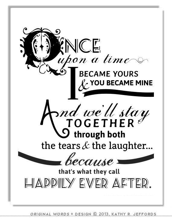Happily Ever After Quote Print For Newlyweds Just Married Couple Decor Love Poem Fairy Tale Art Wedding First Anniversary Gift Her