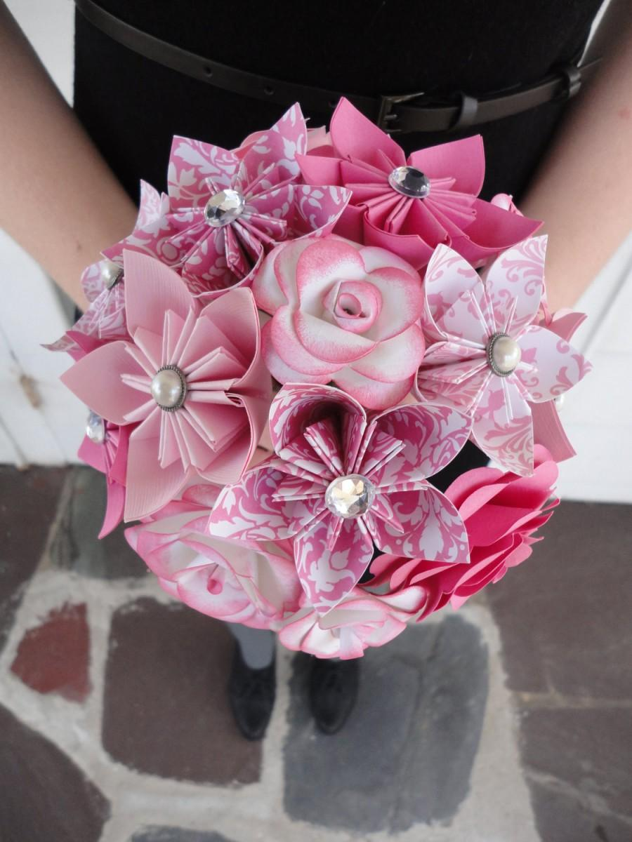 Wedding Flowers Pink Paper Flower Bridesmaid Bouquet Roses Kusudama Origami