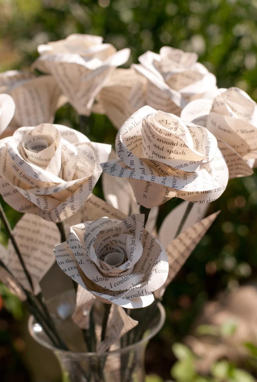 زفاف - One Dozen Long Stem Book Page Roses