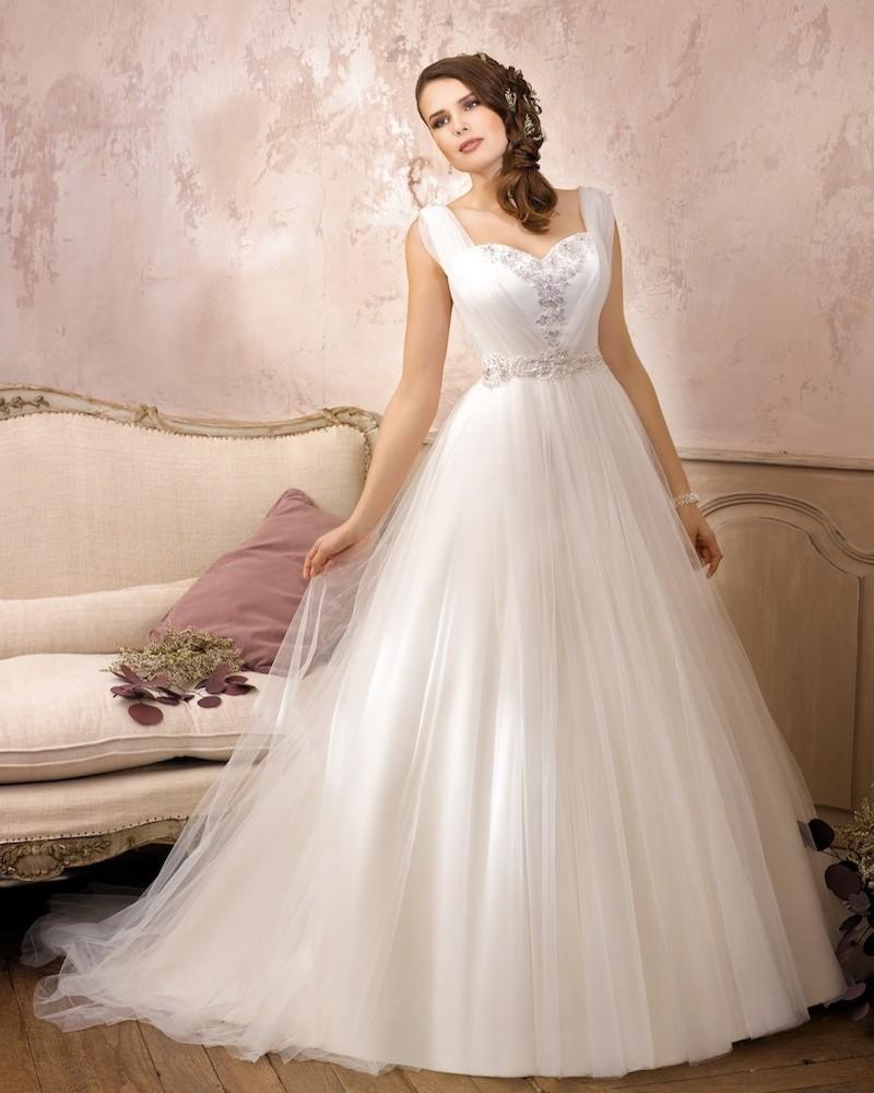 Mariage - Simple A-line Straps Beading Lace Sweep/Brush Train Tulle Wedding Dresses - Elegant Evening Dresses