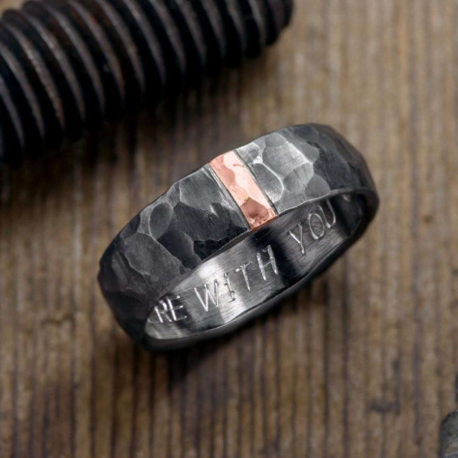 زفاف - 6mm Hammered Mens Wedding Ring, 14k Rose Gold and Rhodium Plated Sterling Silver