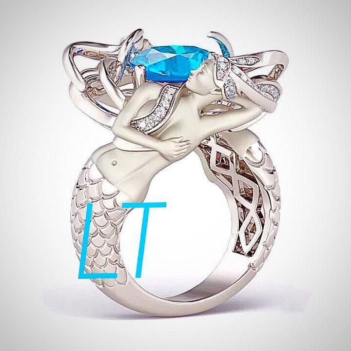 زفاف - Mermaid's Treasure 3.75 Cts Swarovski Aquamarine and Diamond on Sterling Silver or White Gold Engagement Ring
