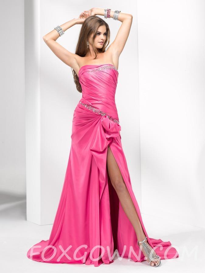 Wedding - Geraffte Satin Mieder Prom Kleid mit Sicke Taille - Festliche Kleider