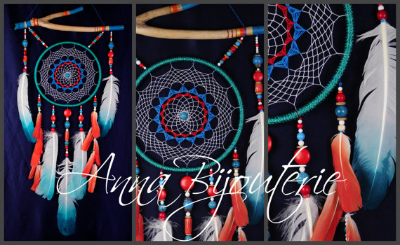 Wedding - Dreamcatcher coral and turquoise Dream Catcher Large Dreamcatcher Dream сatcher gift dreamcatcher boho dreamcatcher wall handmade gift coral