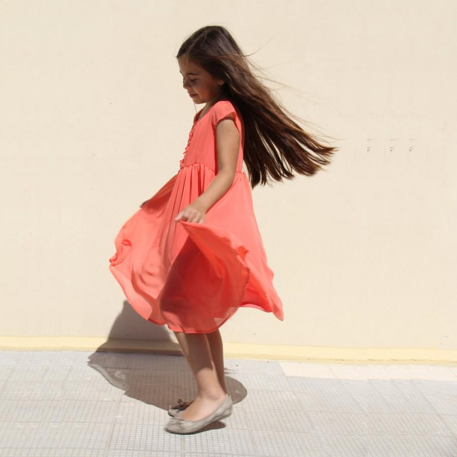 Mariage - Coral Bridesmaid Dress - Coral Chiffon Dress - Coral Dress - Little Girl Flower Girl Dresses - Flower Girl Dress - Nukile