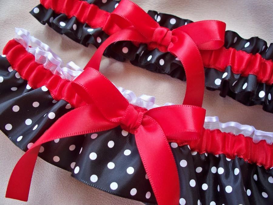 Свадьба - Red Black White Polka Dot Wedding Garter Set
