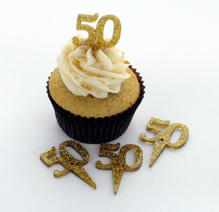 Gold Glitter Acrylic Cupcake Toppers Golden Anniversary 50th Birthday Party You Choose Quantity Cta0053