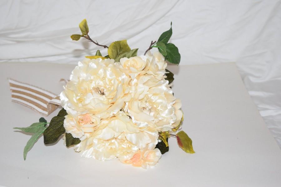 زفاف - Ivory Silk Peony Bride's Bouquet