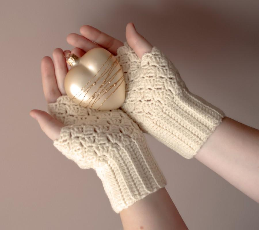Gift For Her Crochet Fingerless Gloves Lace Ivory Mittens Womens