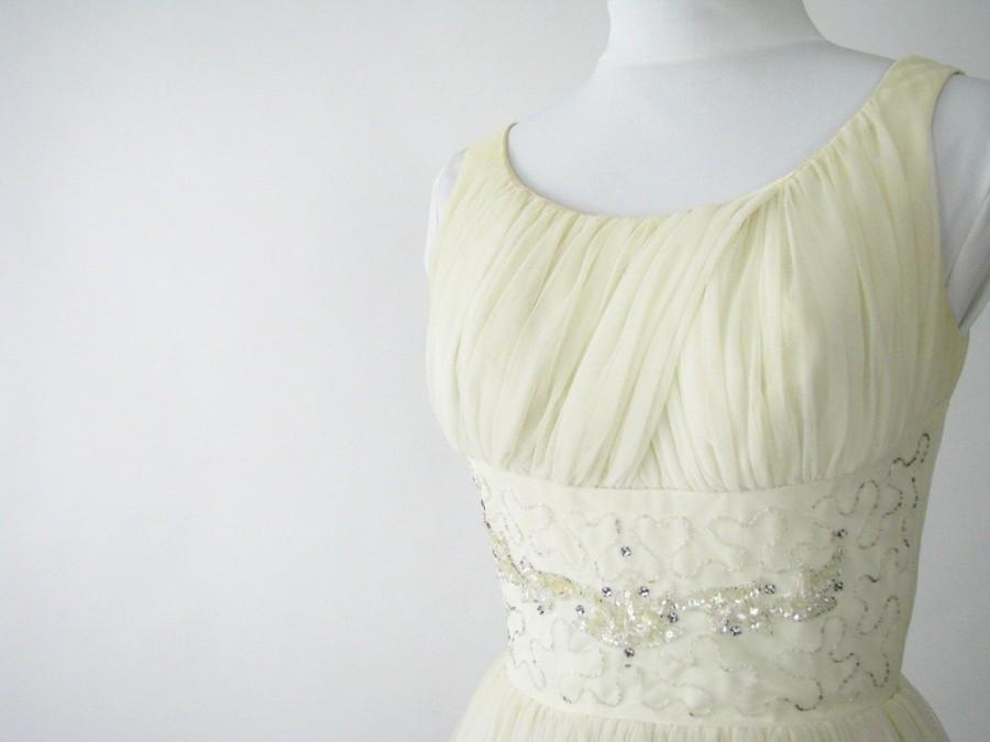 Düğün - Vintage 1950's Ivory Grecian Gown Party Prom Wedding Dress, Modern Size 4, XSmall