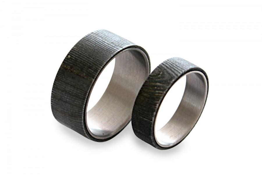 Свадьба - Damascus Steel Ring Set, His And Hers Titanium Rings, Damascus Rings On Titanium