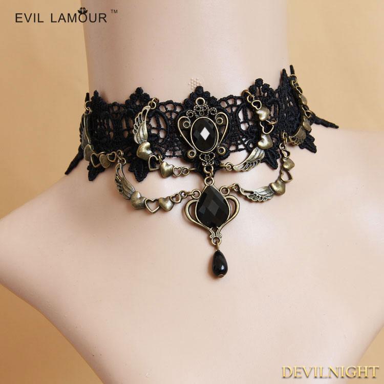 Wedding - Black Gothic Lace Tree Pendant Necklace
