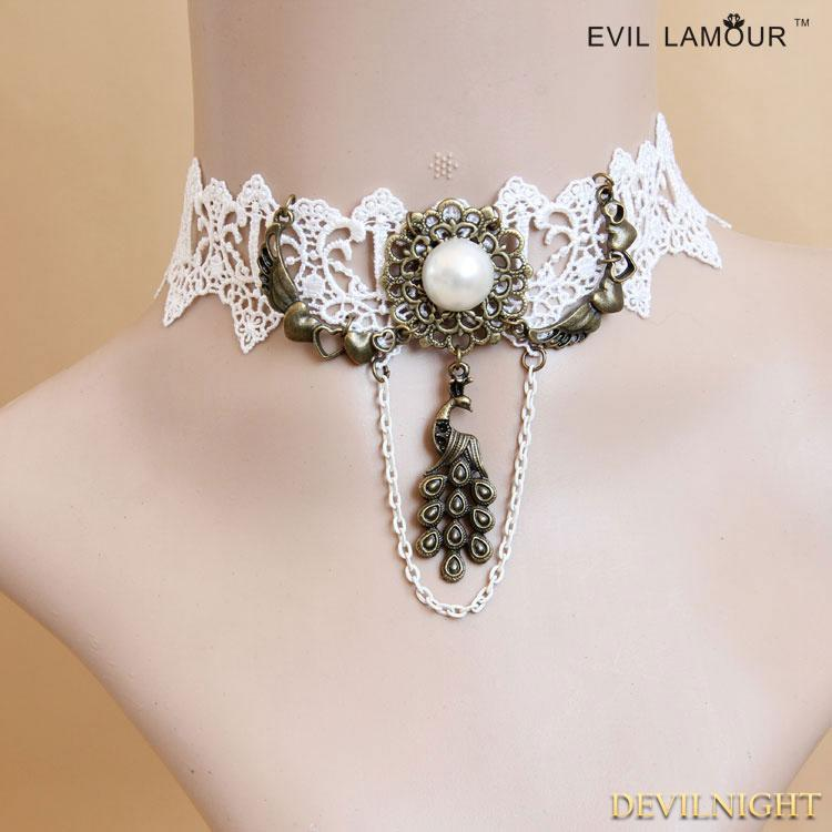 Mariage - White Gothic Lace Tree Pendant Necklace