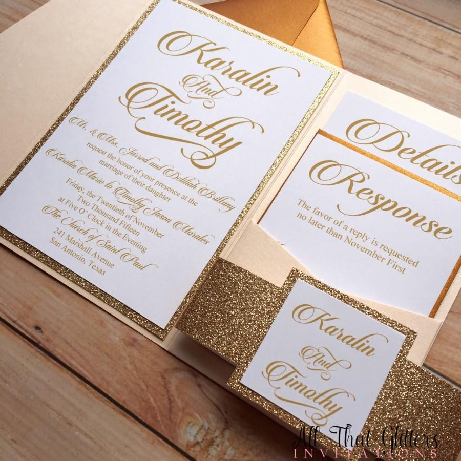 diy rose gold glitter wedding invitations gold - Rose Gold Wedding Invitations