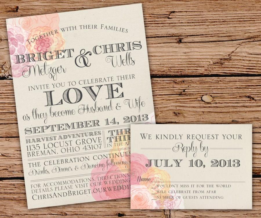 Mariage - Vintage Peoni & Burlap Wedding Invitation