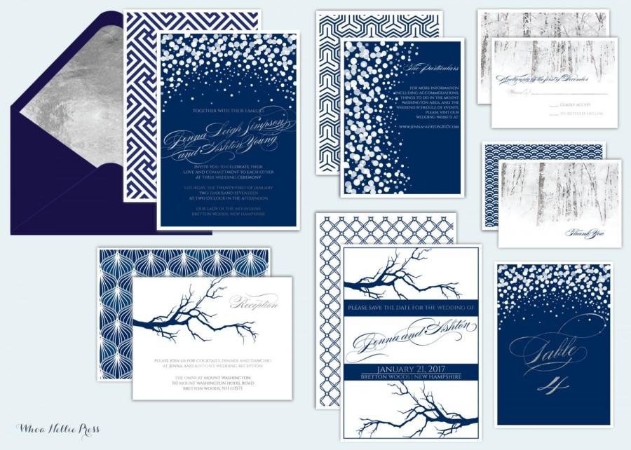 زفاف - Winter Wedding Invitations - Formal/Elegant/Navy/Silver-Snow and Tree Invitations