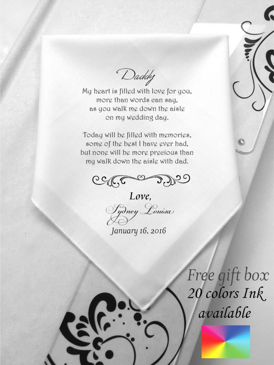 Hochzeit - Customized Father Of the Bride Wedding Handkerchief- Wedding Poems for Dad-Printed-Prints Hankie-Free Wedding Handkerchief Gift Box