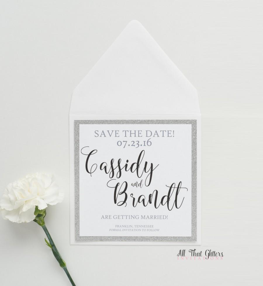 زفاف - Silver Glitter Save The Date Card