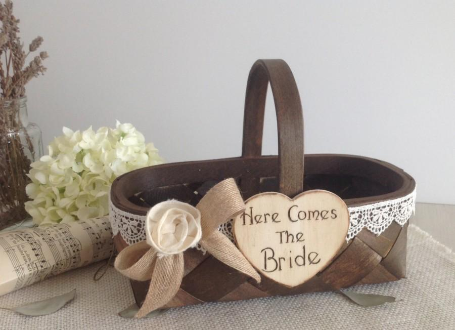 Hochzeit - Flower girl basket with Here Comes Mommy or Here Comes the Bride, wedding sign, rustic flower girl basket
