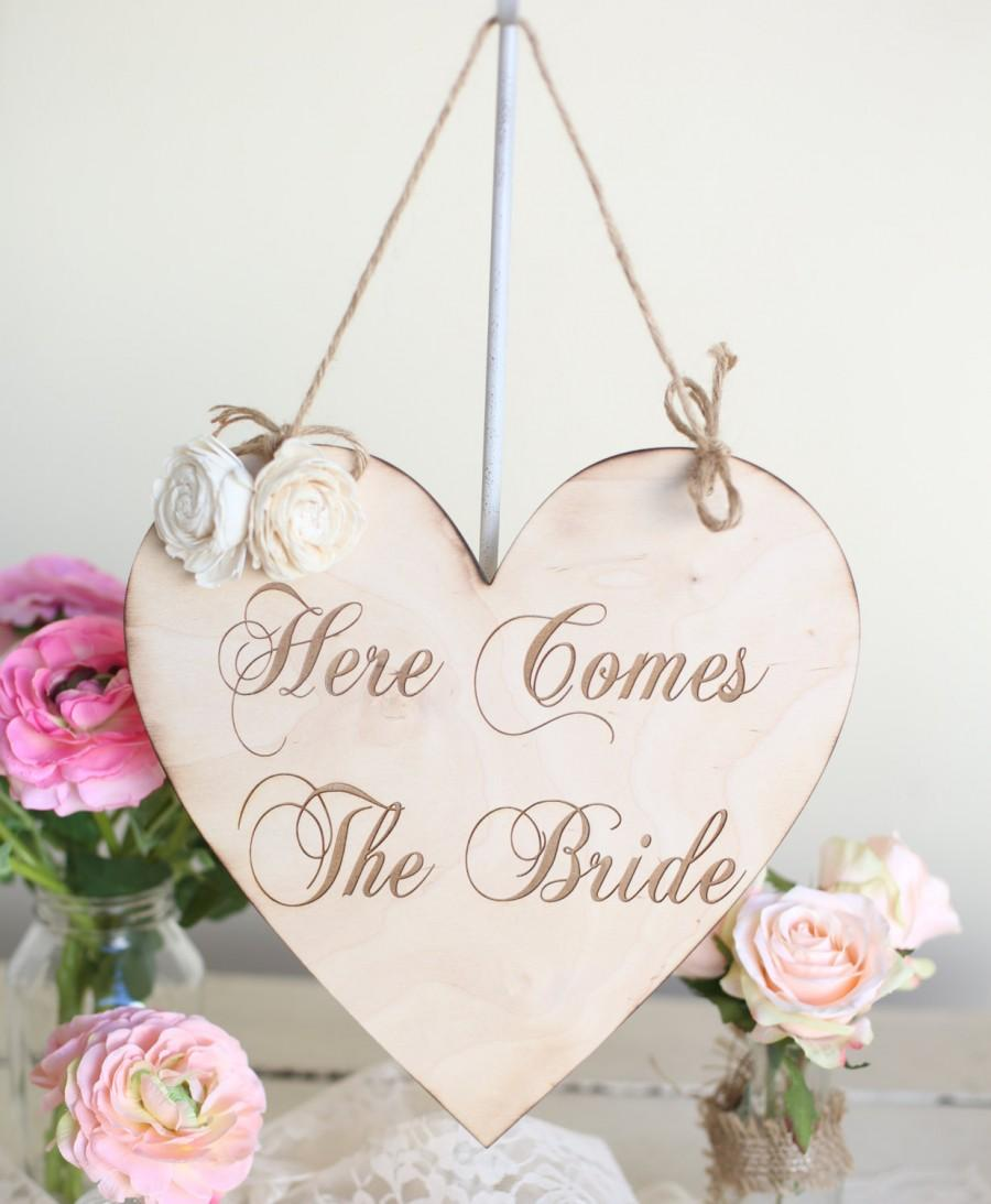 Wedding - Rustic Here Comes The Bride Wedding Sign by Morgann Hill Designs