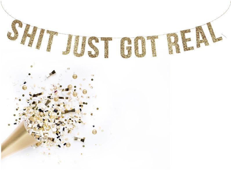 Hochzeit - Shit JUST GOT REAL Glitter Garland. Photo Booth Wedding Photo Banner.