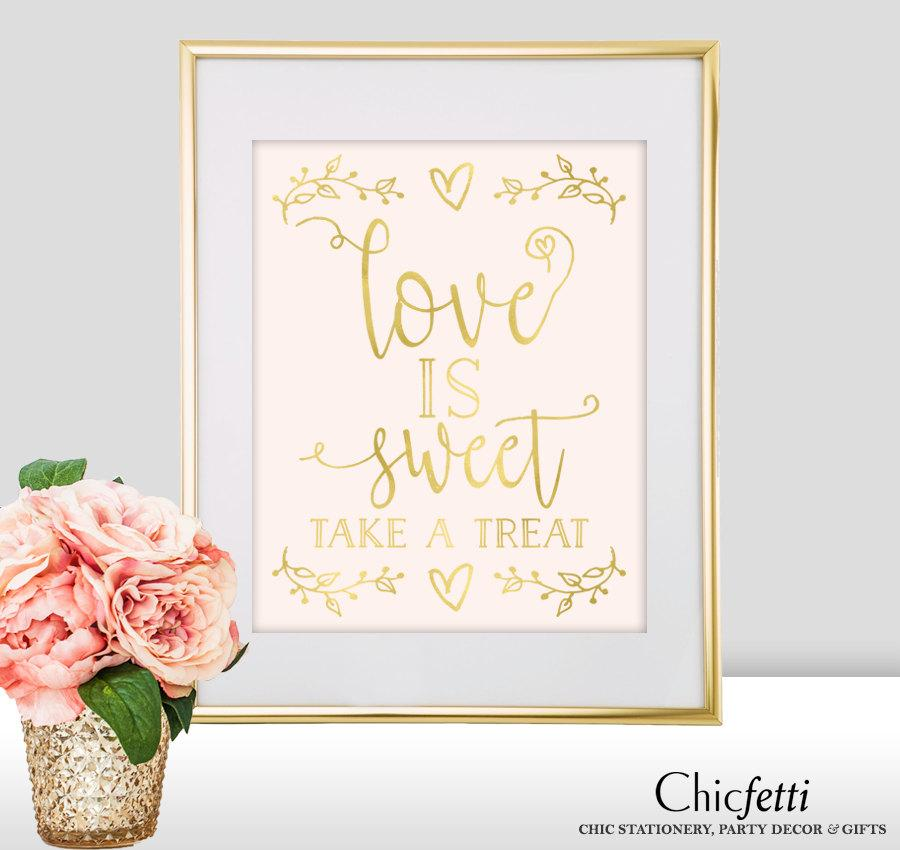 love is sweet wedding sign love is sweet bridal shower sign gold wedding decorations love is sweet sign please take a treat