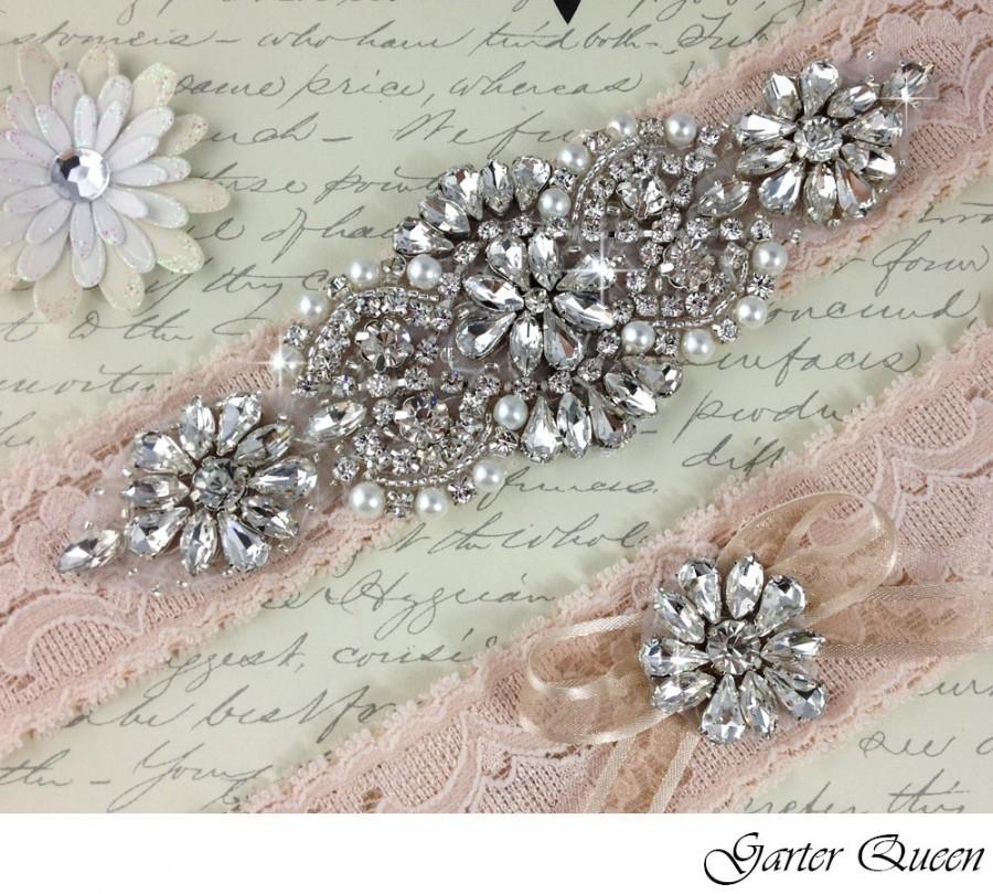 Hochzeit - Swarovsky Crystals Bridal Garter, Lace Wedding Garter Set, Stretch Lace Bridal Garter Set, Personalized Garter, Blush Lace Garter