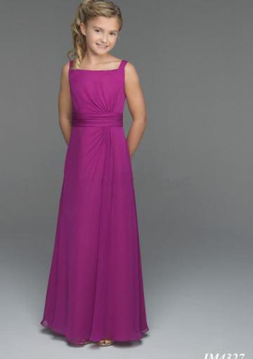 Wedding - Purple Chiffon Straps Ruched Buttons Sleeveless Floor Length