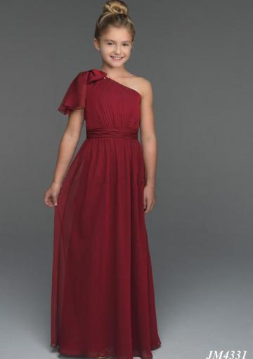 Wedding - Burgundy Zipper Ruched Floor Length Sleeveless One Shoulder Chiffon