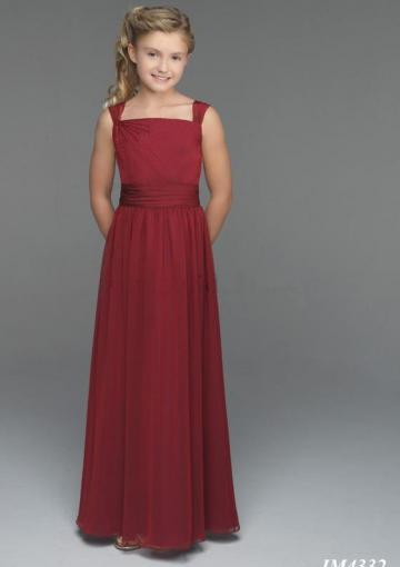 Wedding - Buttons Burgundy Sleeveless Chiffon Straps Ruched Floor Length