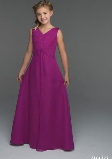 Wedding - Lace Up Chiffon V-neck Ruched Purple Sleeveless Floor Length